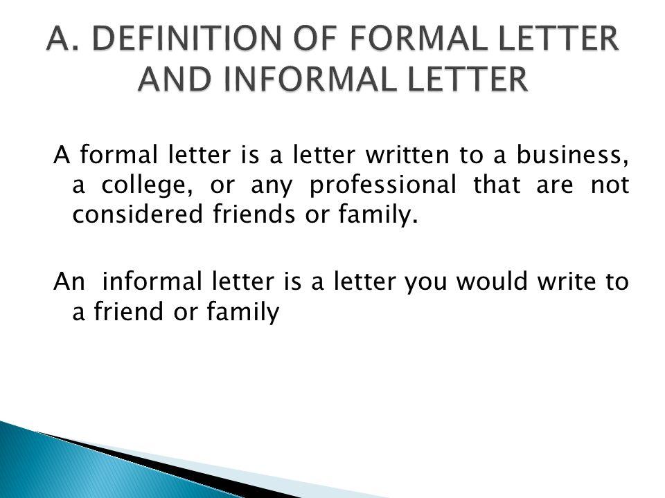 informal letter rules