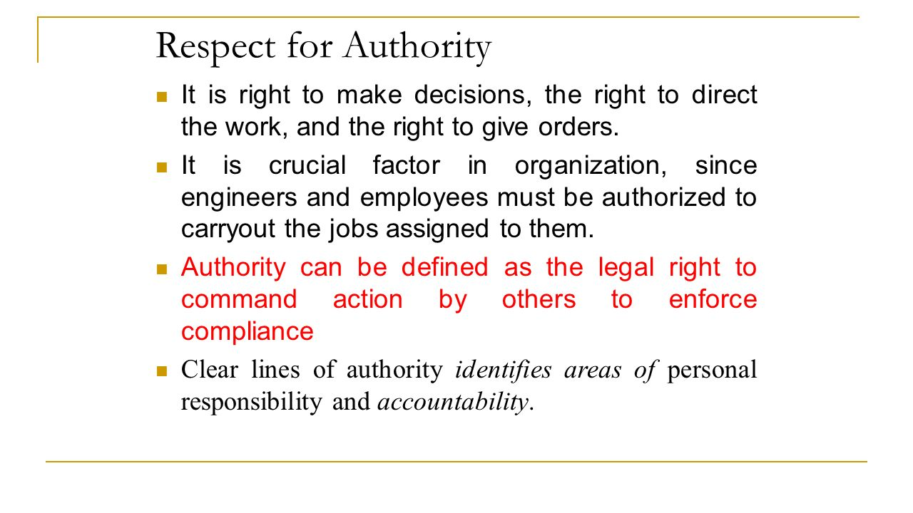respect for authority definition