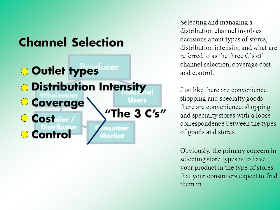 2 selecting and managing a distribution channel