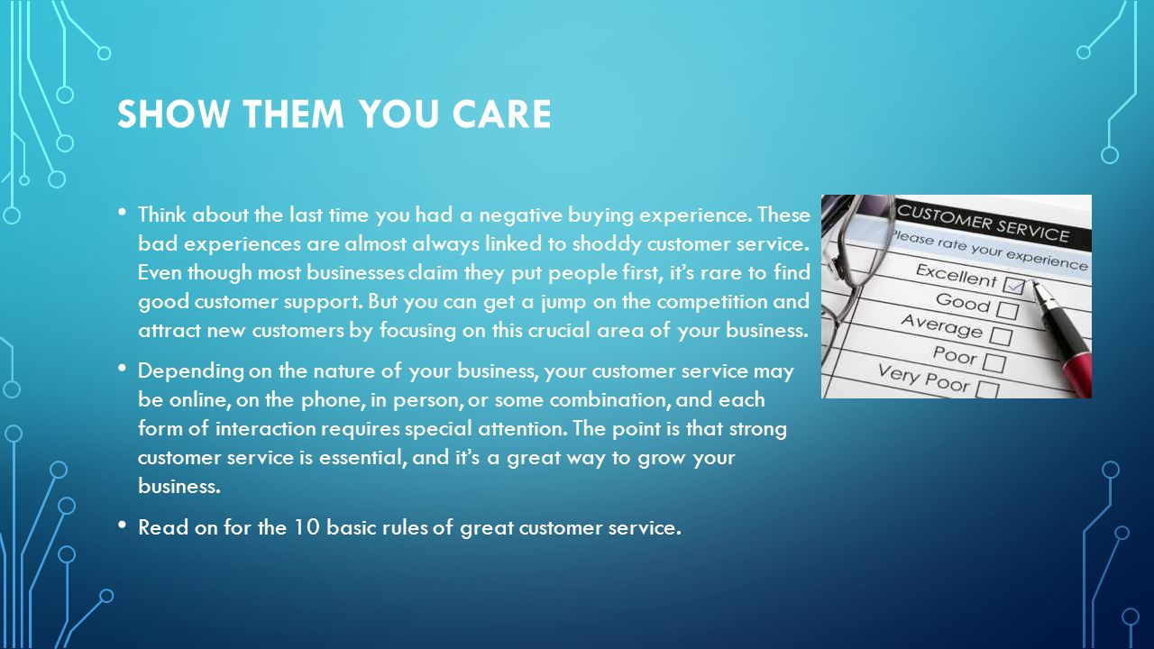 THE 10 GUIDELINES FOR SUCCESSFUL CUSTOMER CARE