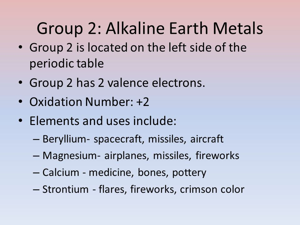 Periodic table groups for westveers chemistry project ppt download 4 group 2 urtaz Choice Image