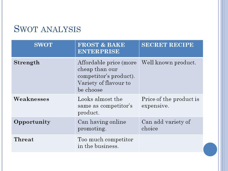 secret recipe competitor analysis