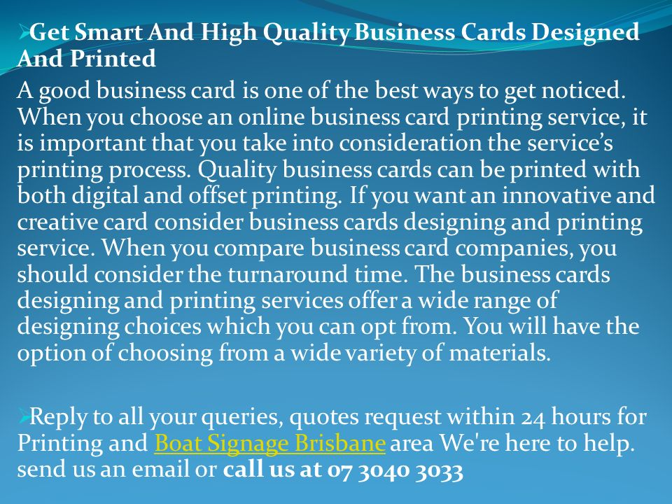 Thebestprinting business cards brisbane has over17 years get smart and high quality business cards designed and printed a good business card is reheart Gallery