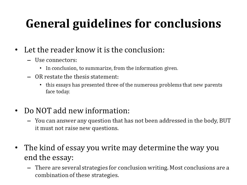 Examples Of Thesis Statements For Expository Essays General Guidelines For Conclusions Let The Reader Know It Is The Conclusion   Use Connectors Thesis Support Essay also Pmr English Essay Exploring The Essay There Are Three Main Parts To An Essay   Essay Paper Topics