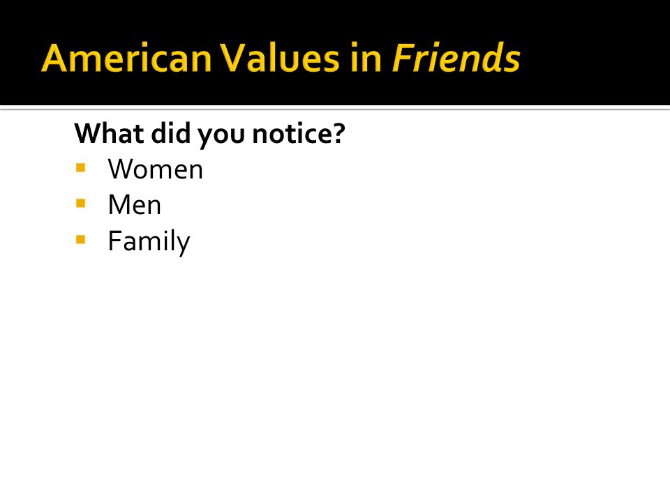 What did you notice  Women  Men  Family