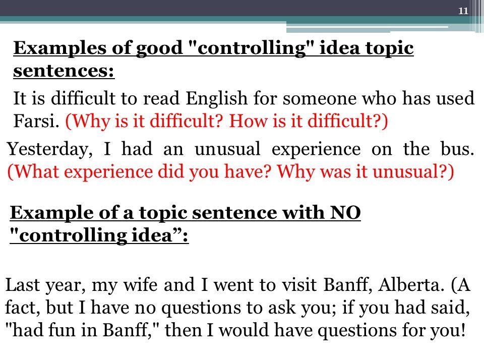 Topic sentences with definite controlling idea forschung austria kv