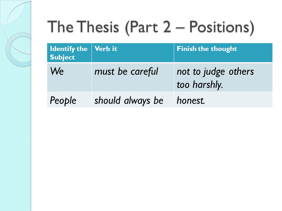3 part thesis A terrific 3-part thesis statement here is the introductory paragraph in a 5-paragraph english paper by illinois valley community college student the three parts of her thesis statement.