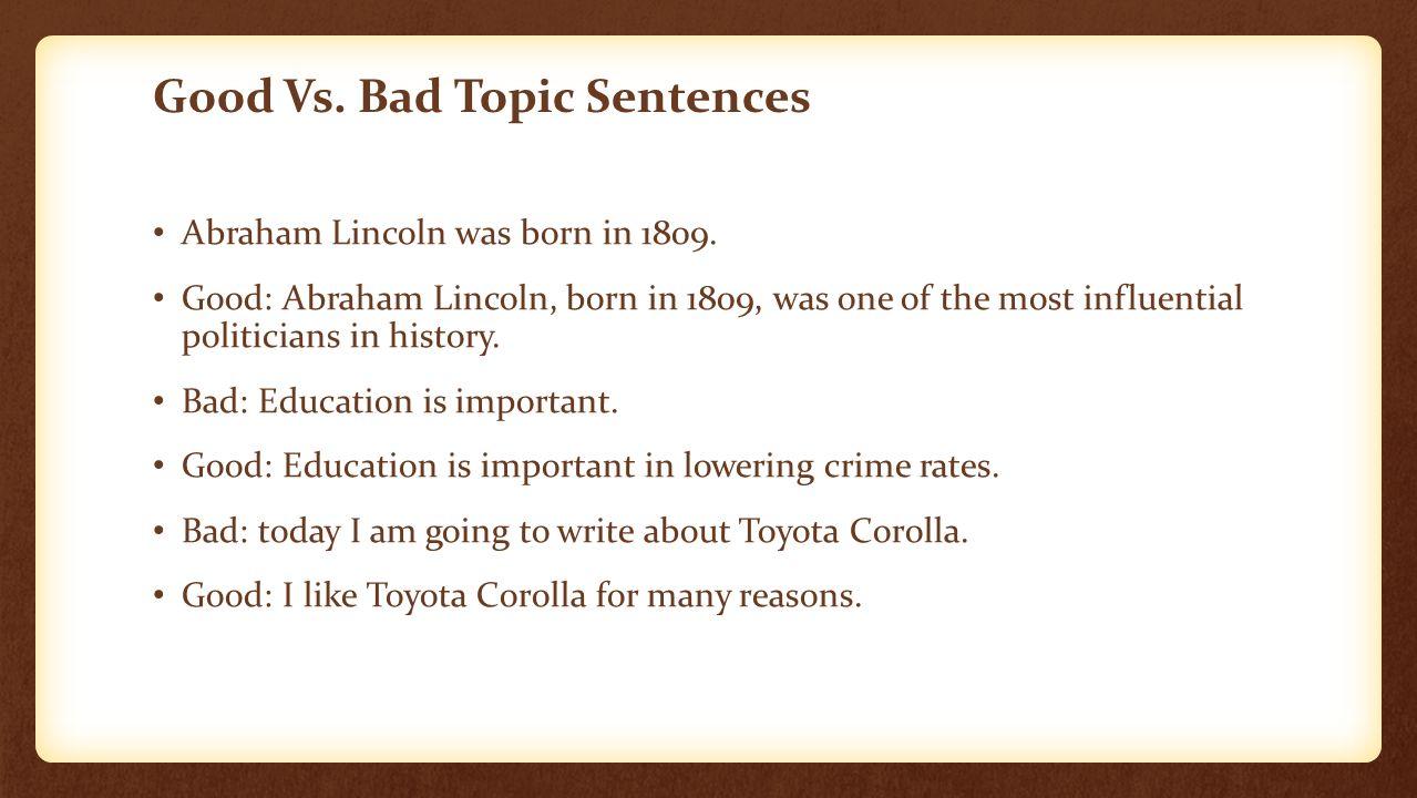 how to write a topic sentance
