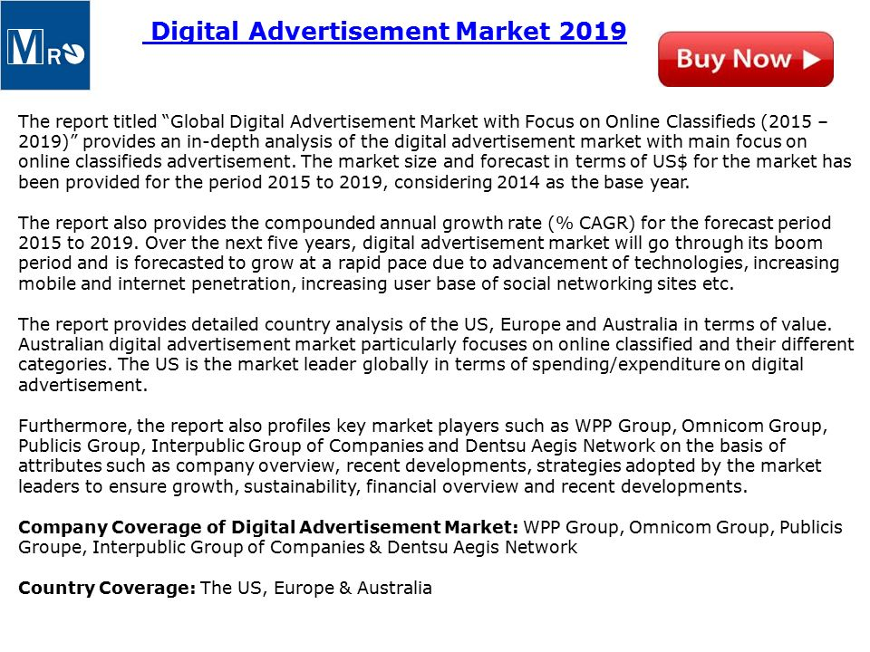 Global Digital Advertisement Market with Focus on Online Classifieds