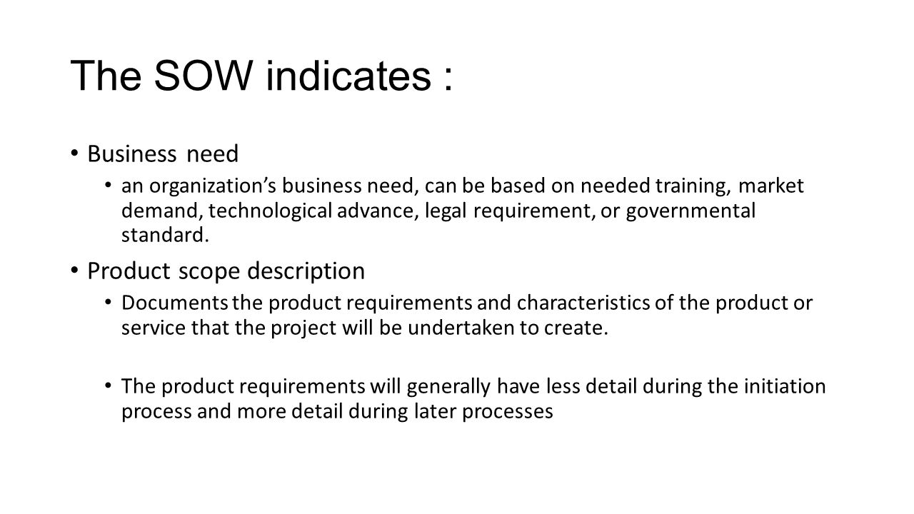statement of work lecture sow the statement of work is the basis of