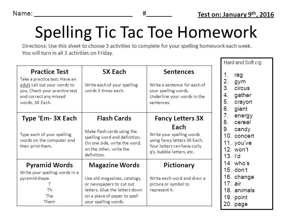 Spelling Tic Tac Toe Homework Practice Test Take A Practice