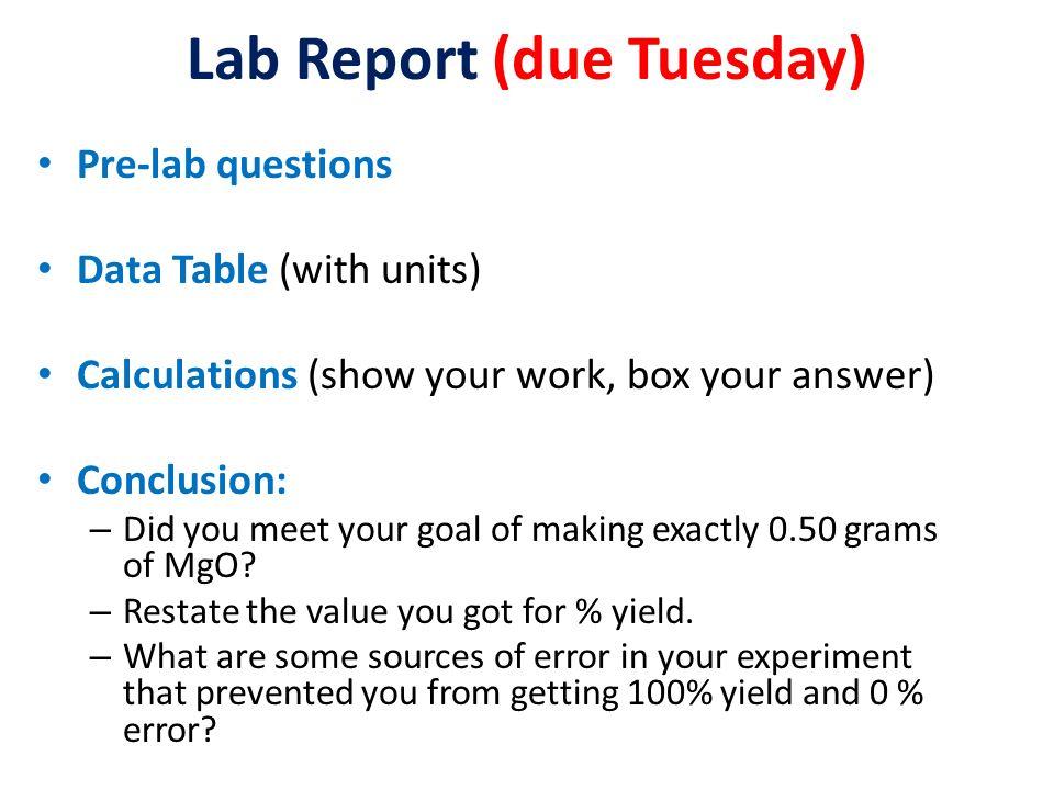 magnesium oxide lab conclusion