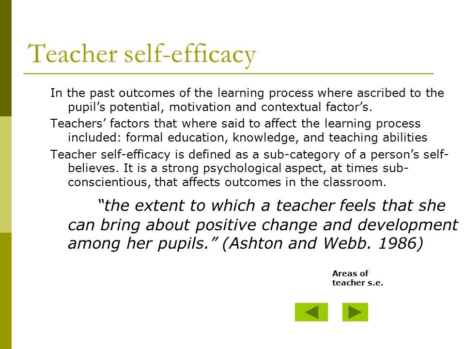 Teacher self-efficacy A key to success in the classroom