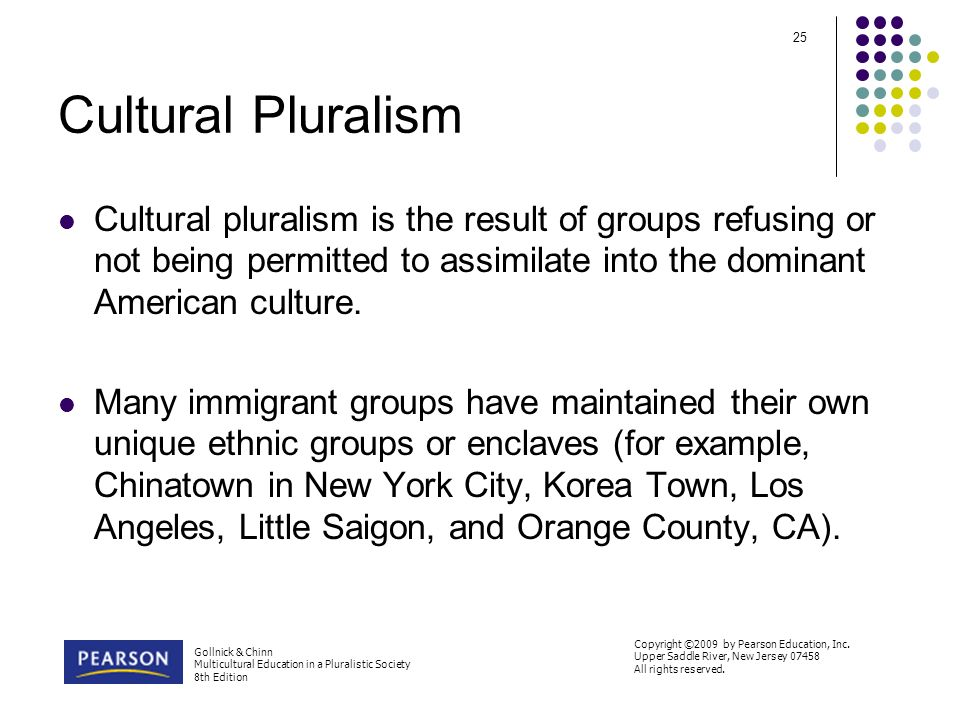 cultural pluralism essays Cultural pluralism is the idea that a smaller culture is readily accepted by a major culture in the sense that the smaller culture keeps their identity, religious practices, and morals or values it is made clear within the smaller culture and/or members not to assimilate or become multiculturalist.