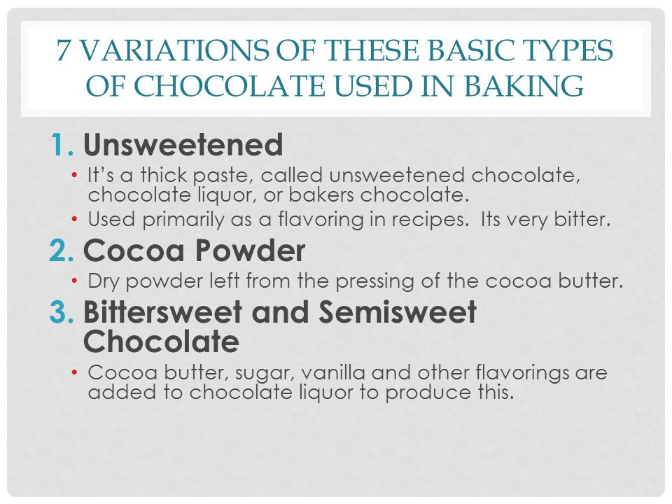 types of chocolate 2 essay Chocolate brings a variety of types like dark chocolate, white chocolate and milk chocolate white chocolate comes from the oil that leaves cacao bean chocolate has been revered more for its medicinal qualities than its delicious taste in the centuries.