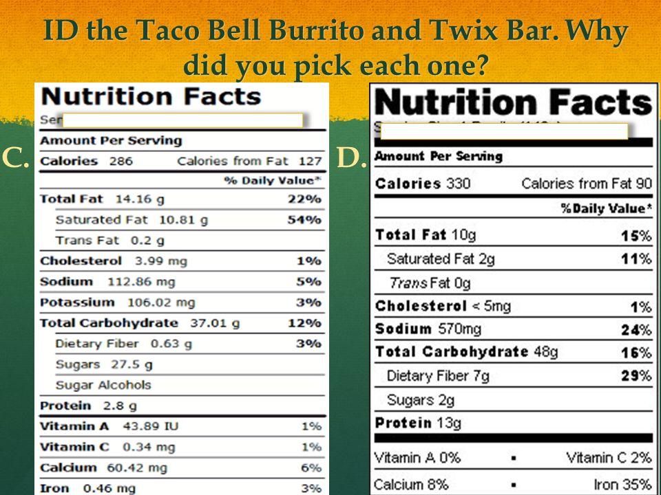 9 ID the Taco Bell Burrito and Twix Bar.