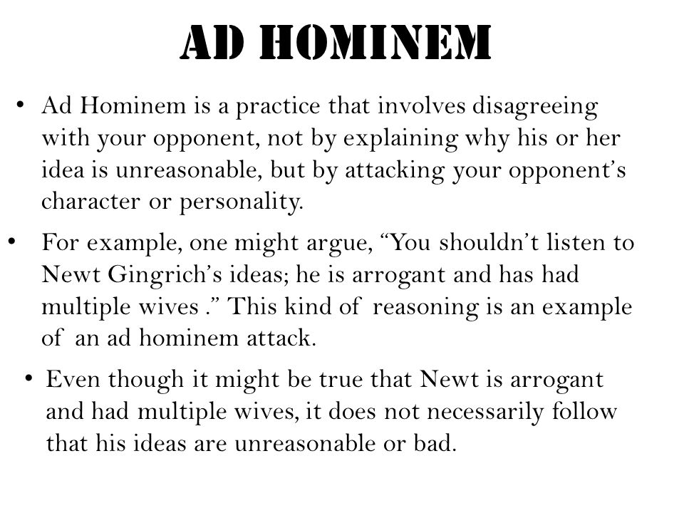Image result for not ad hominem to show bad sources