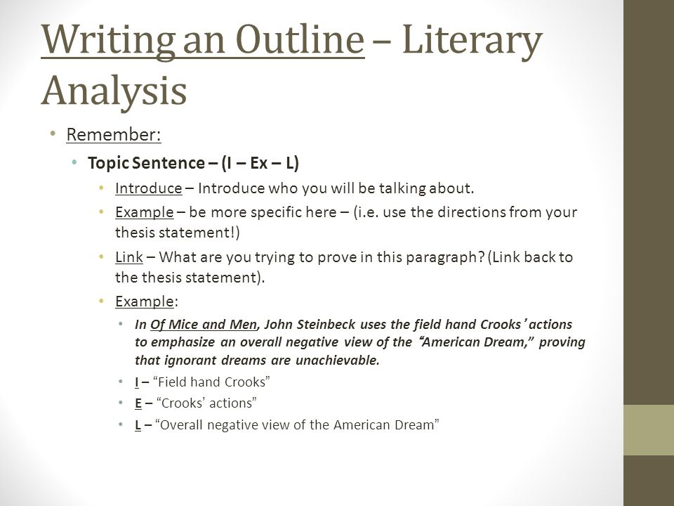 English Iii Of Mice And Men Literary Analysis Outline I Ex