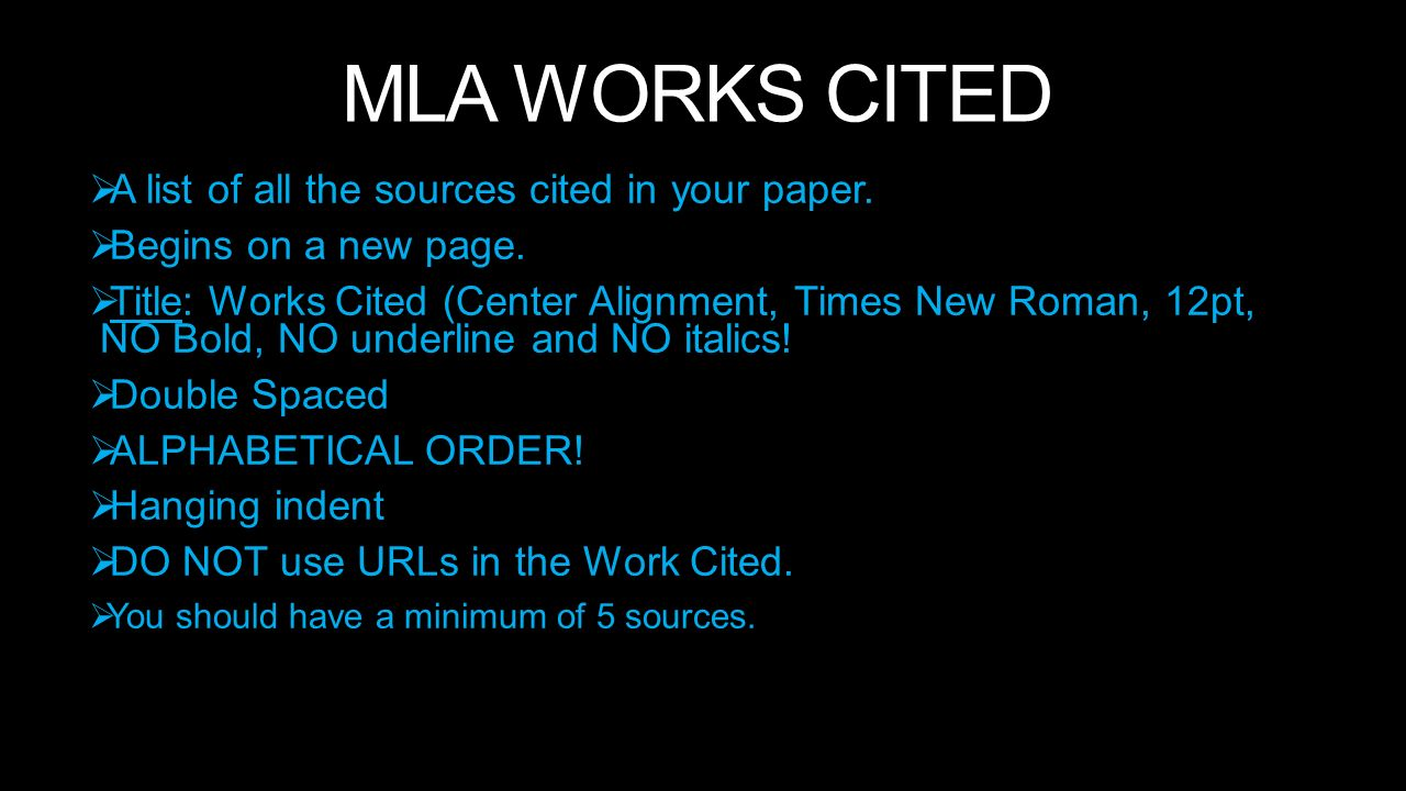 mla works cited a list of all the sources cited in your paper