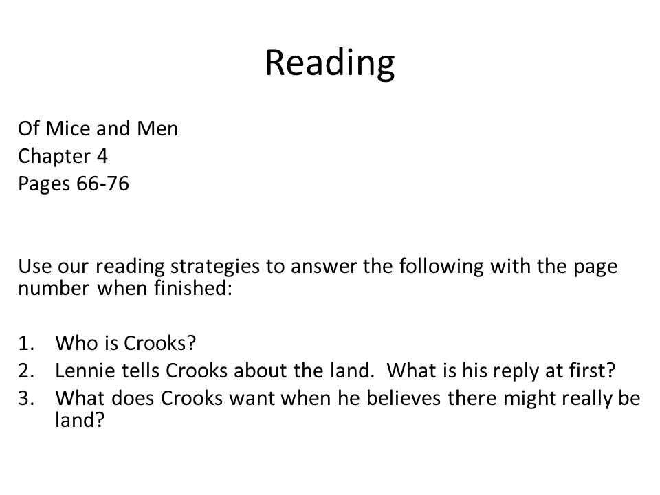 Of Mice Men Chapter 4 3 Weeks Test March 3 4 Do Now Based