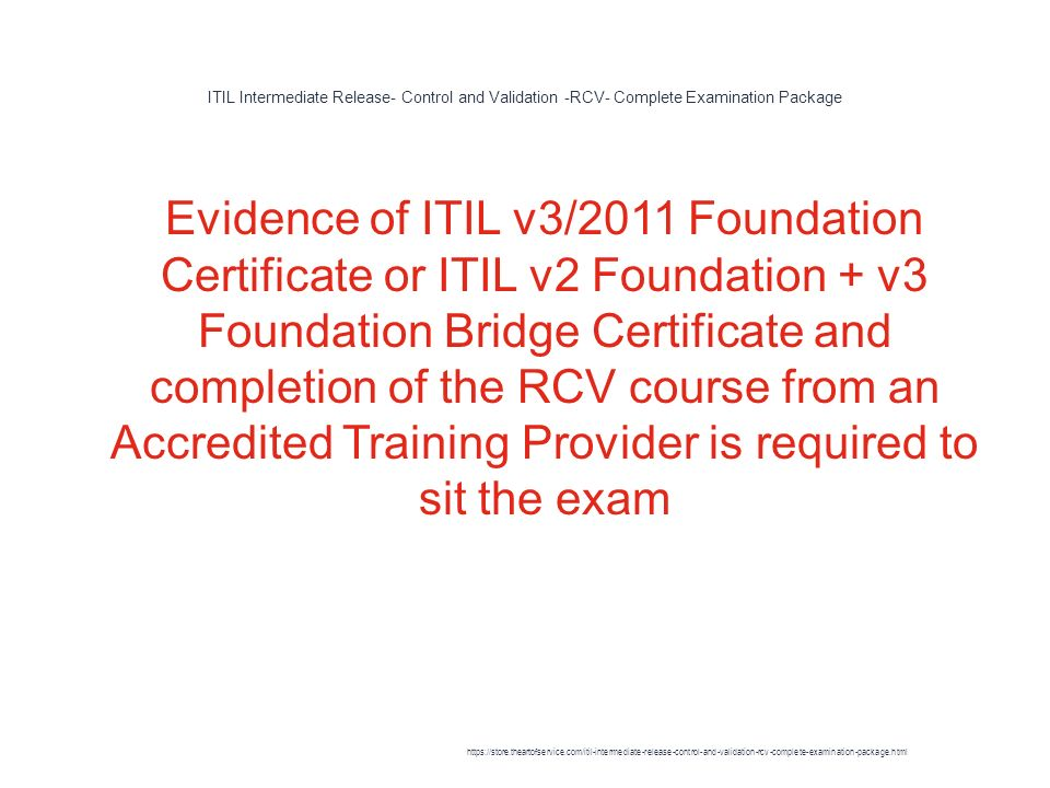 Itil Intermediate Release Control And Validation Rcv Complete