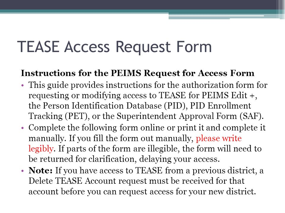 how to correctly complete a tease access request form ppt download
