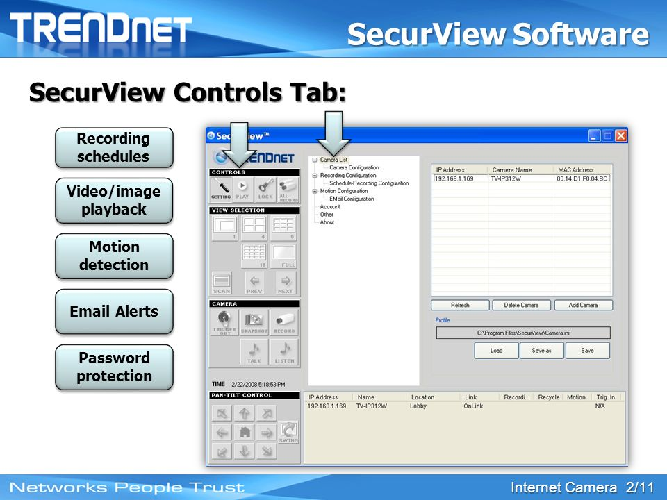 Internet Camera 2/11 SecurView Software Windows PC based