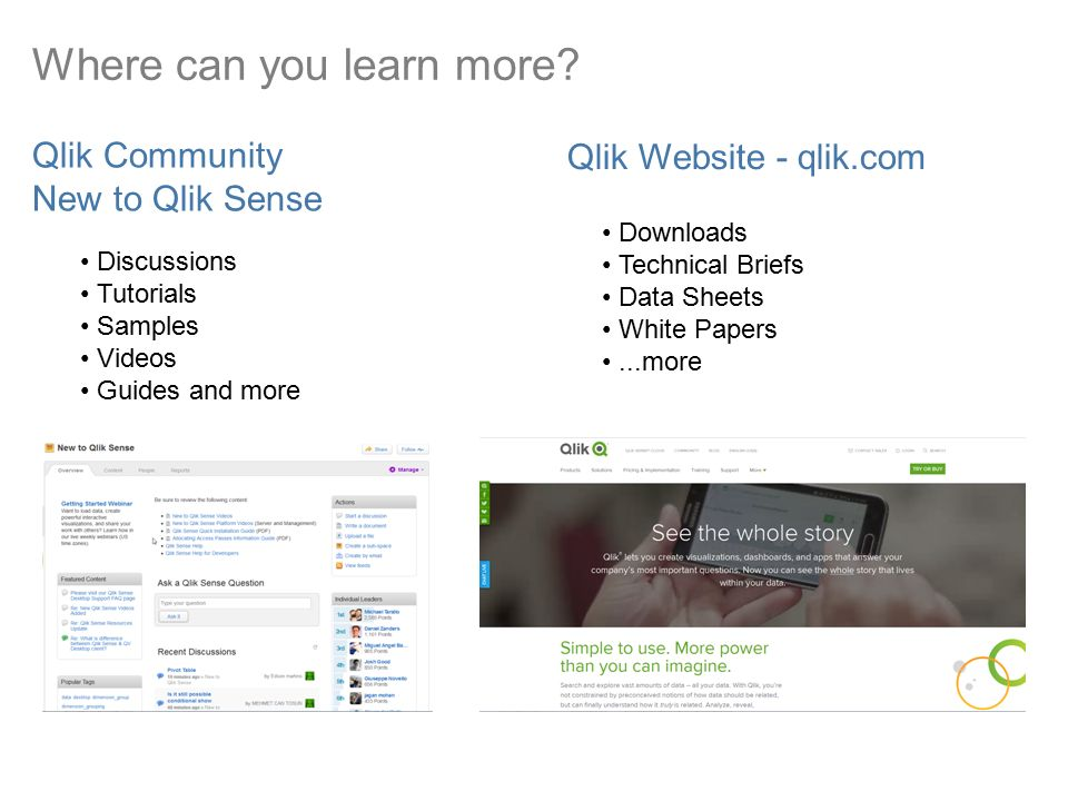 Get more out of Qlik ® Sense Tips and Tricks  The Whole