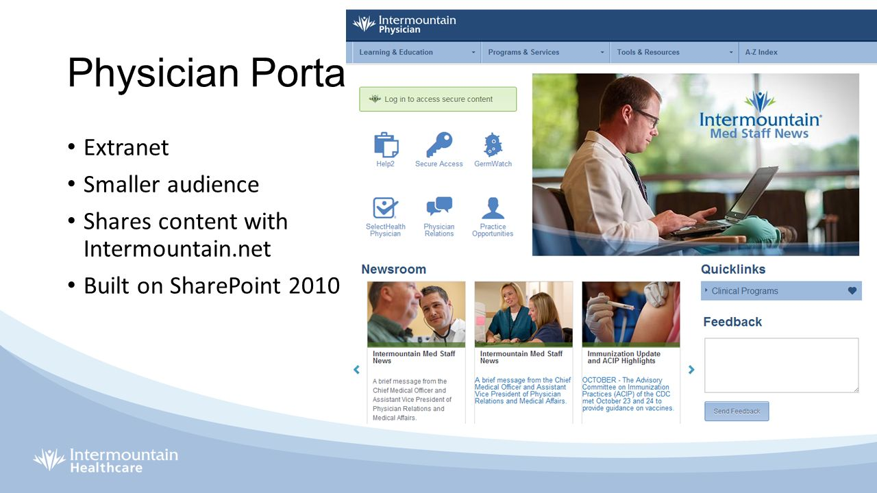 case study 2 microsoft sharepoint at intermountain healthcare Case studies trusted by thousands of global healthcare organizations intermountain healthcare, an internationally recognized medical group, set out to make images easily accessible to over 10,000 practitioners, referring physicians, and occasional users.