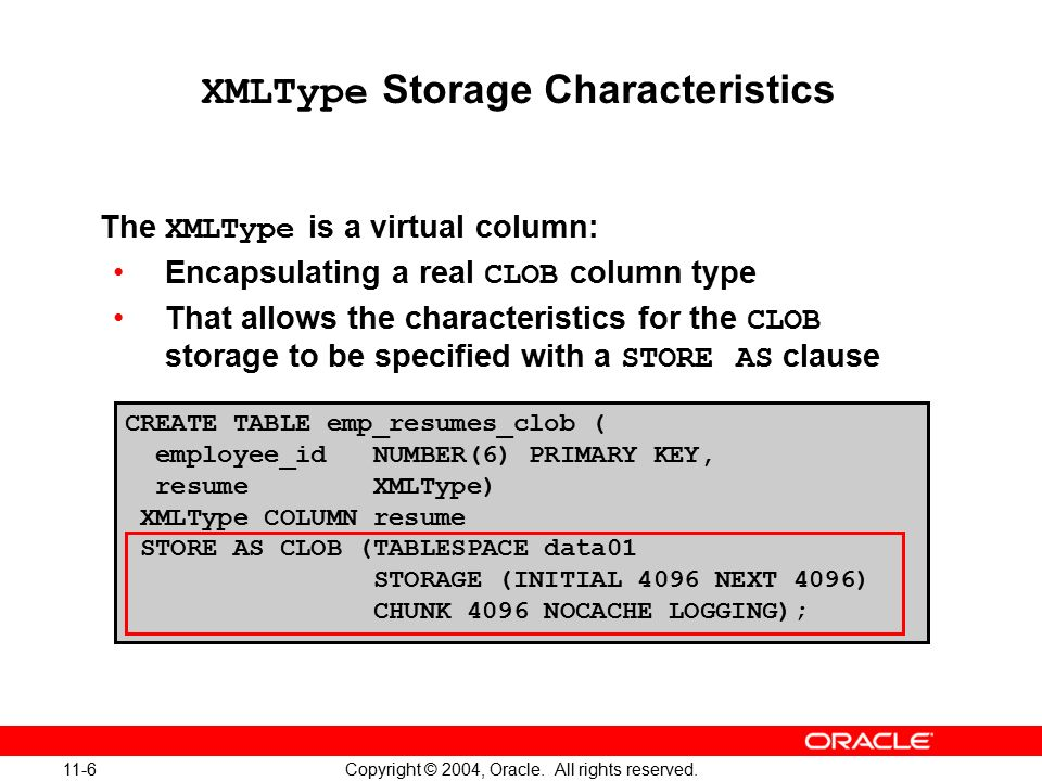 11 Copyright © 2004, Oracle  All rights reserved  Managing XML Data