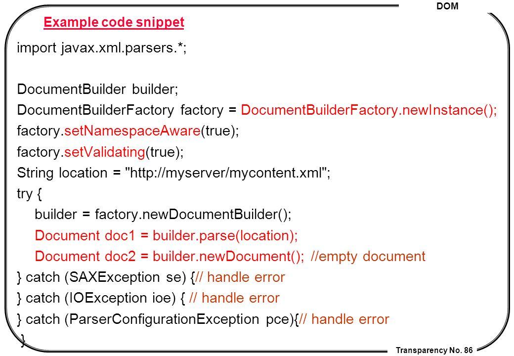 Setvalidating xml dom