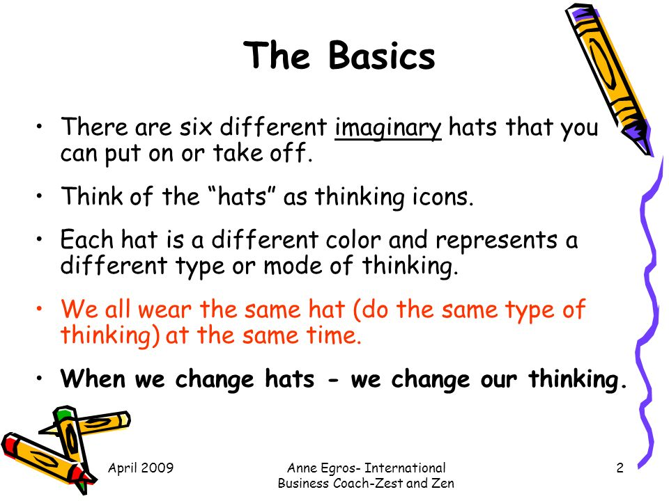 Six Thinking Hats Edward Debono S Parallel Thinking For Effective Problem Solving And Exploring New Ideas Ppt Download Something you exclaim when you and another person have the same item of clothing, idea, object, etc. six thinking hats edward debono s