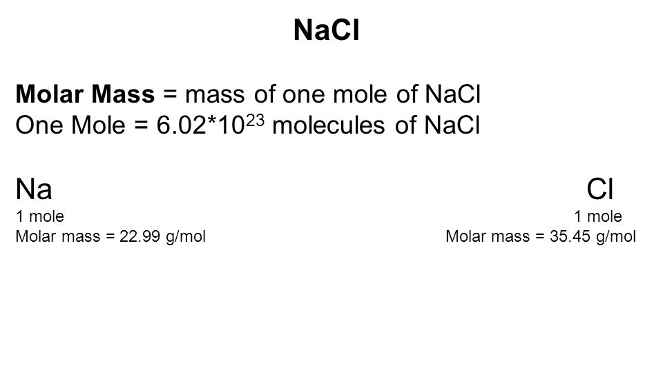molar mass of nacl The molar mass and molecular weight of nacl(s)7 is 282897769.