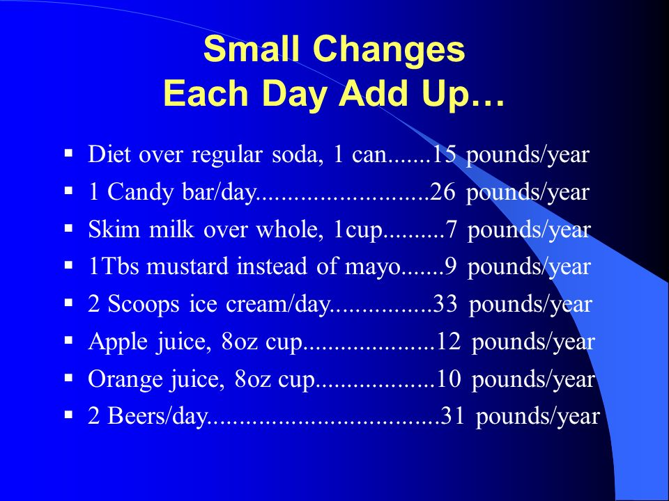Small Changes Each Day Add Up…  Diet over regular soda, 1 can.......15 pounds/year  1 Candy bar/day...........................26 pounds/year  Skim milk over whole, 1cup..........7 pounds/year  1Tbs mustard instead of mayo.......9 pounds/year  2 Scoops ice cream/day................33 pounds/year  Apple juice, 8oz cup.....................12 pounds/year  Orange juice, 8oz cup...................10 pounds/year  2 Beers/day....................................31 pounds/year