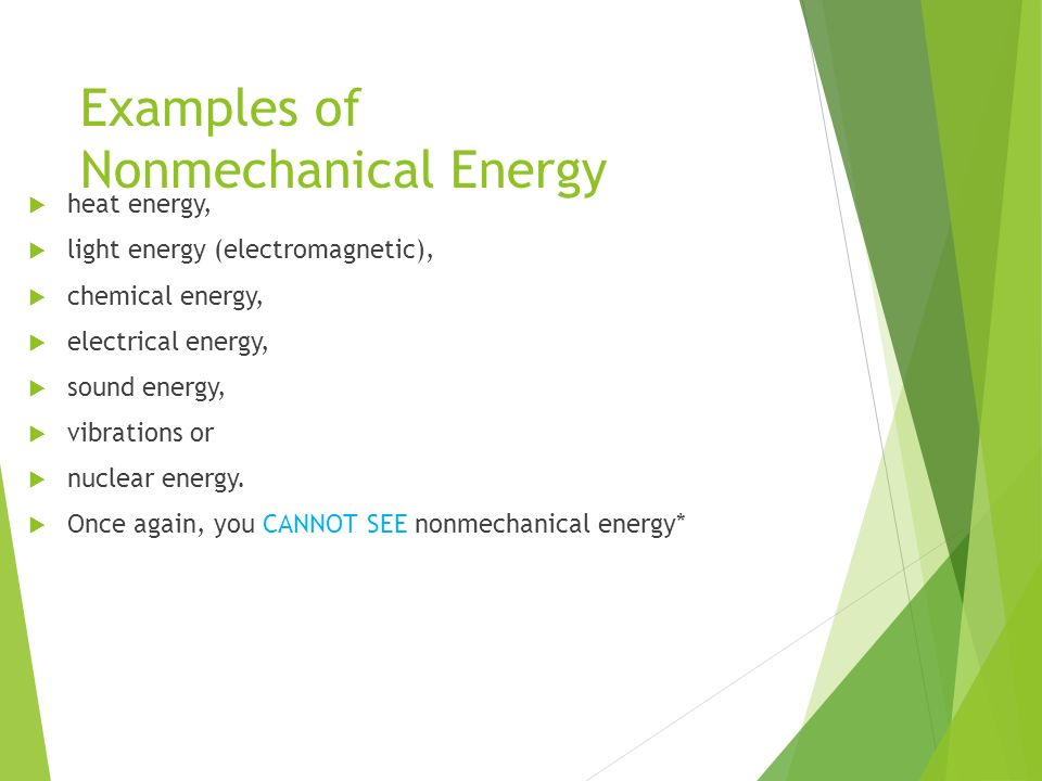 forms of energy mechanical energy and non-mechanical energy. - ppt