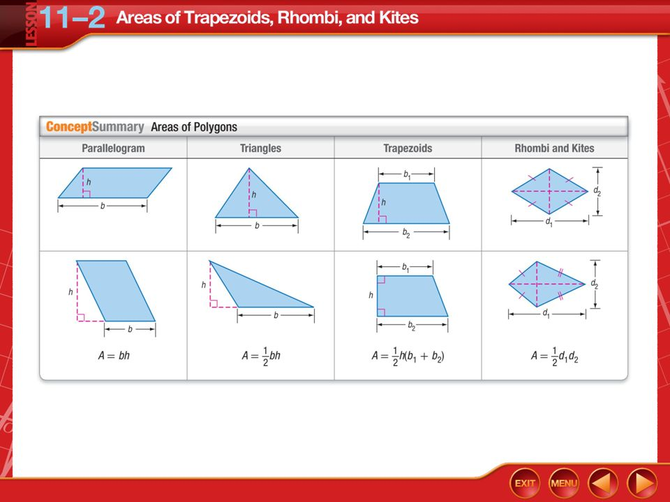 Areas Of Trapezoids Rhombi And Kites Lesson 112 Ppt Download
