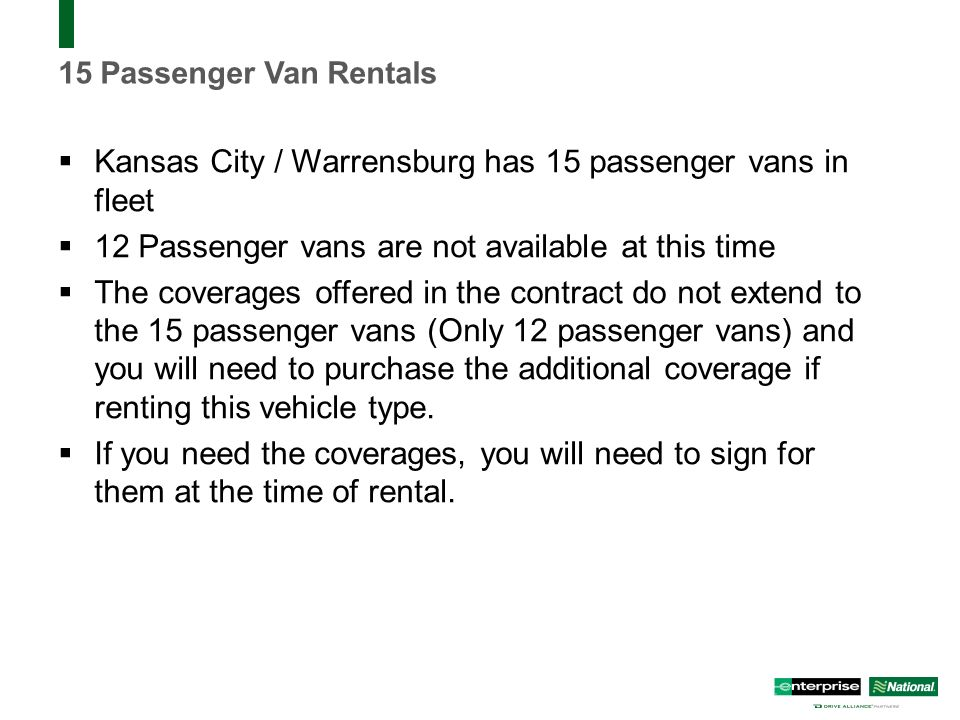 15 Passenger Van Rental Kansas City >> Business Rental Presentation University Of Central Missouri