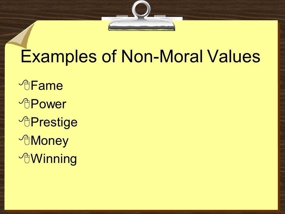 What is an example of a non moral value judgement? | yahoo answers.