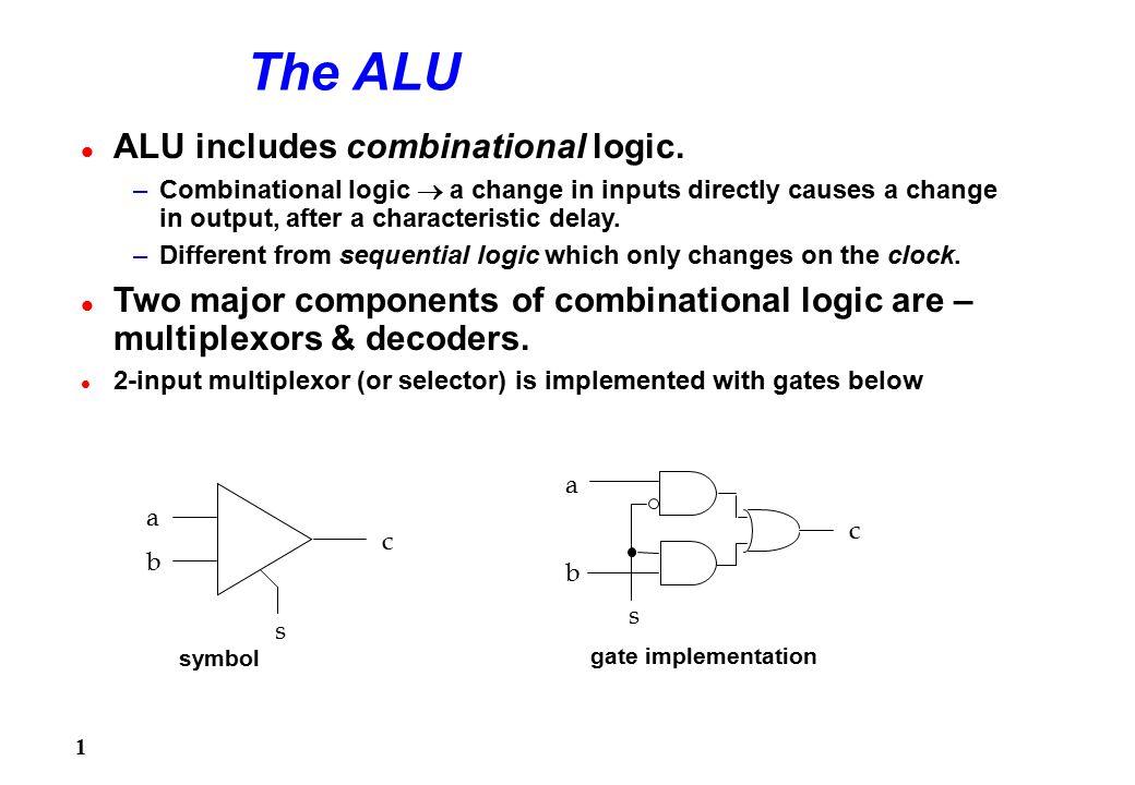 1 The ALU l ALU includes combinational logic  –Combinational