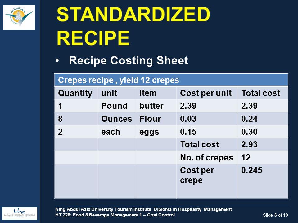 Food beverage management i cost control ht 225 c ontrolling f ood 6 slide forumfinder Choice Image