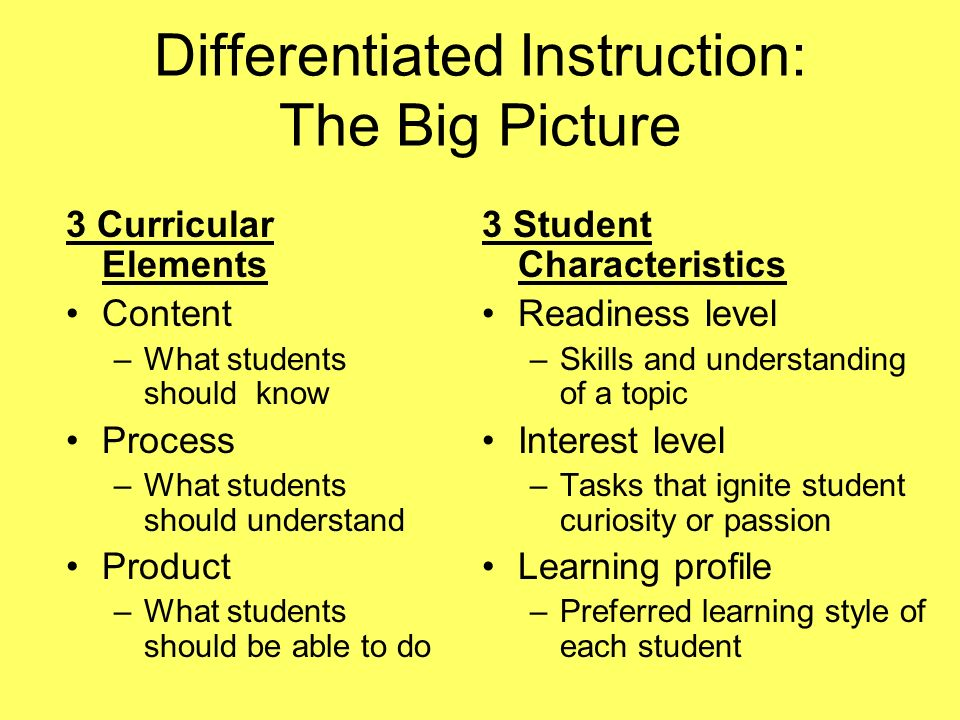 Differentiated Instruction The Big Picture 3 Curricular Elements