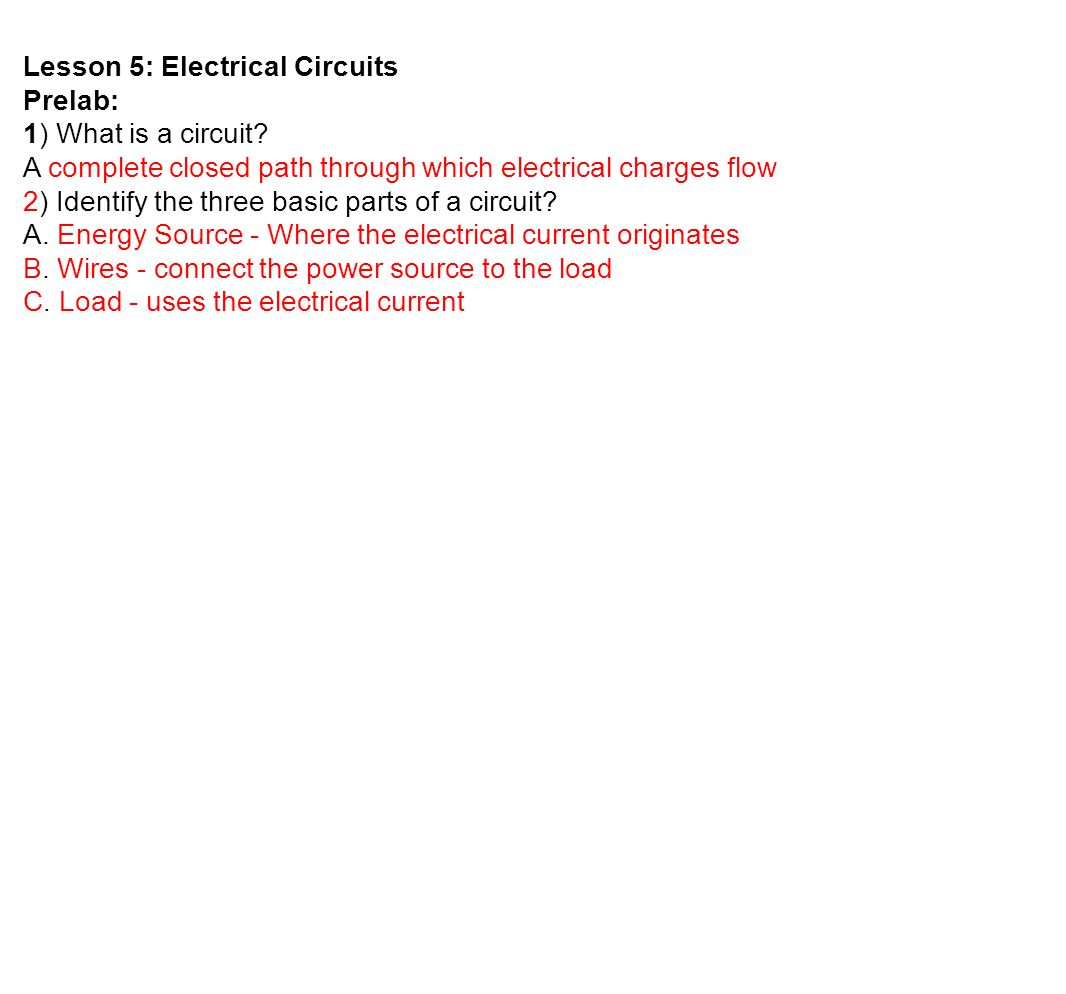 w simple circuit lesson 5 electrical circuits prelab 1 what is a