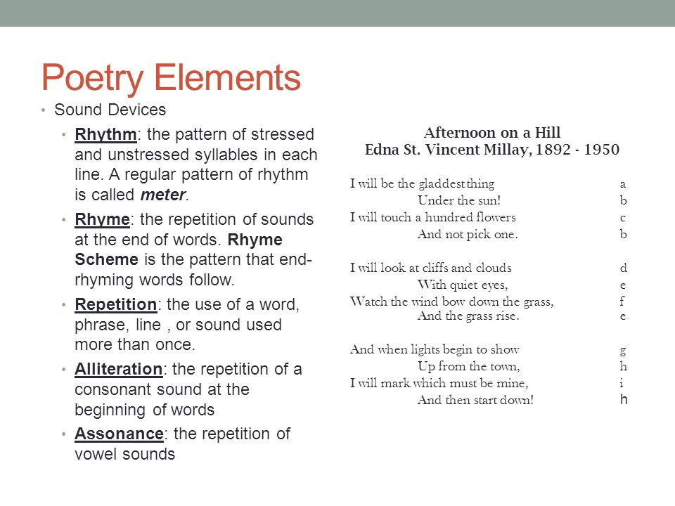 analyzing the elements of poetry There are many different supernatural elements in the poetry of coleridge some reflect christian beliefs, some reflect folk traditions, and some are fantastic elements grounded in his use of opium, which produced hallucinations one of his poems with many dreamlike and supernatural elements is.