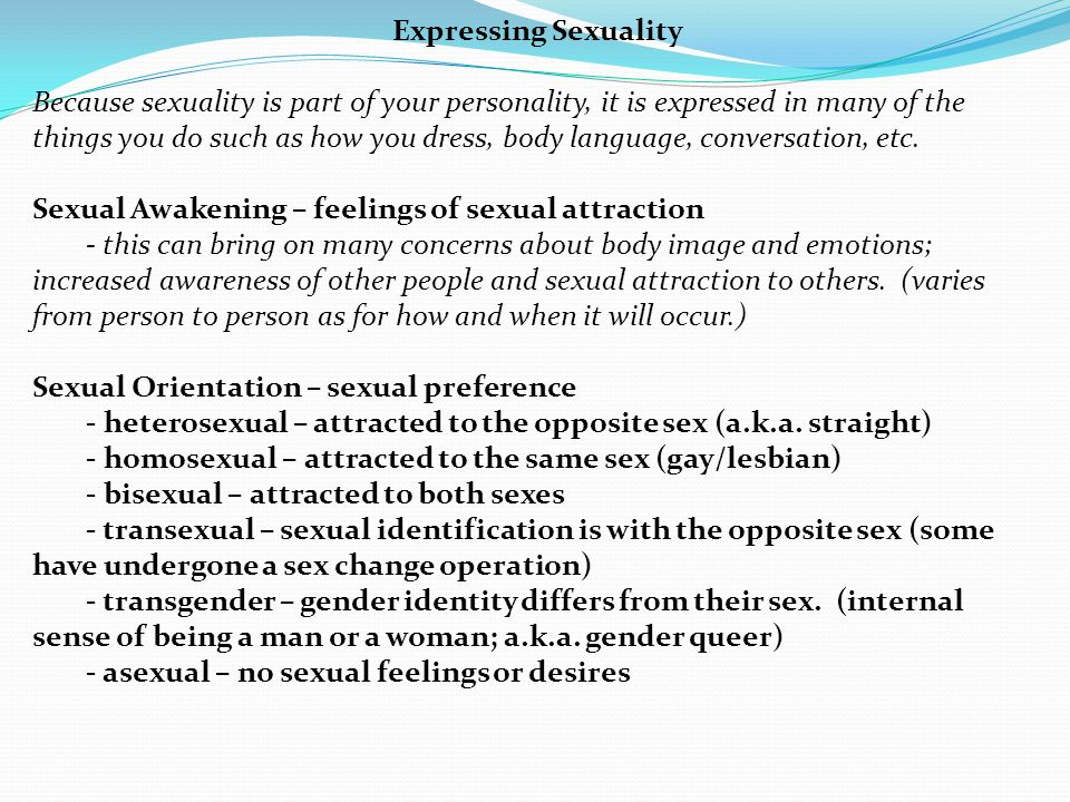 Ways of expressing sexuality