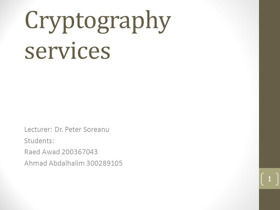 Cryptography Services Lecturer Dr Peter Soreanu Students Raed