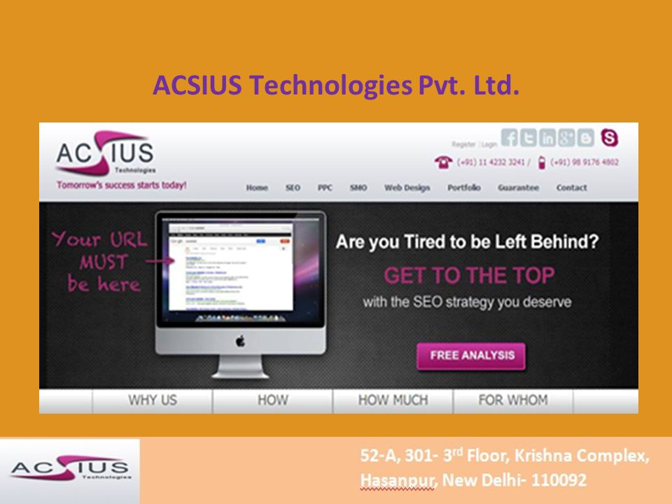 ACSIUS Technologies Pvt. Ltd. Tomorrow's Success Starts Today!