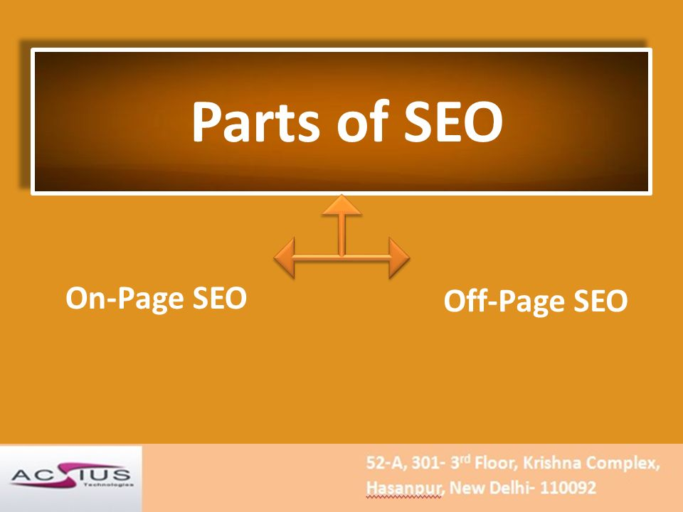 Parts of SEO On-Page SEO Off-Page SEO