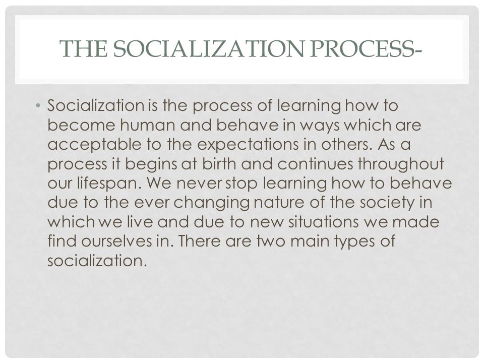 socialisation process