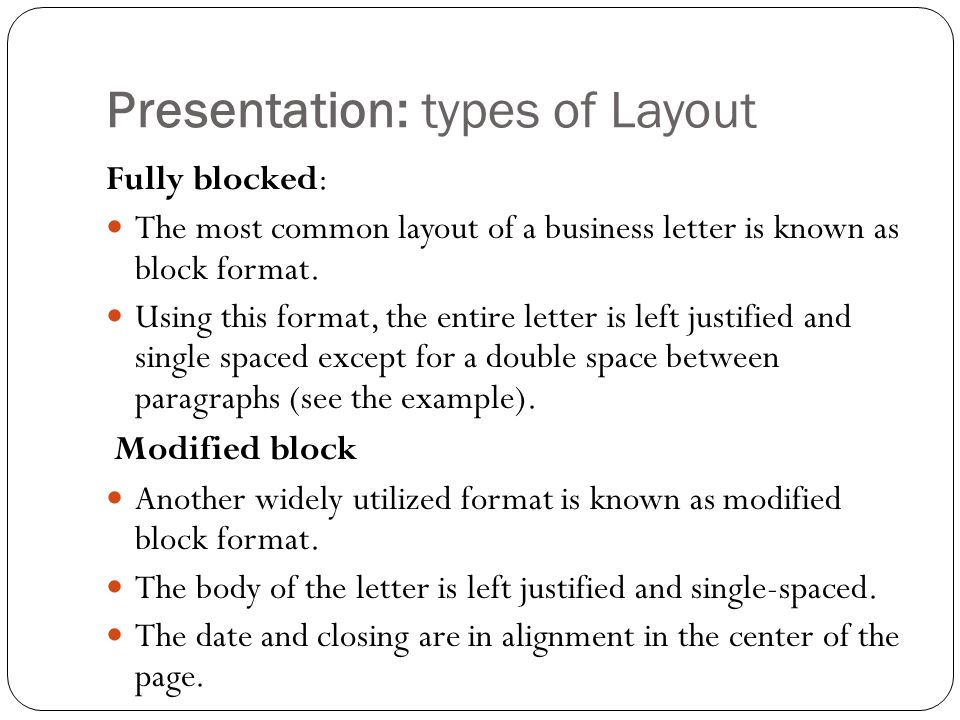 Communication for business simad univesrity introducing the business presentation types of layout fully blocked the most common layout of a business letter altavistaventures Gallery
