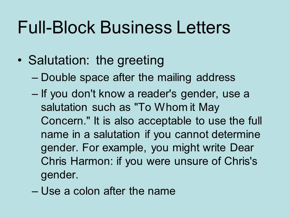 Formatting letters full block business letters all parts begin at 4 full block altavistaventures Gallery